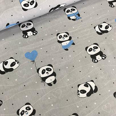 Хлопковая ткань польская панда в голубом на сером