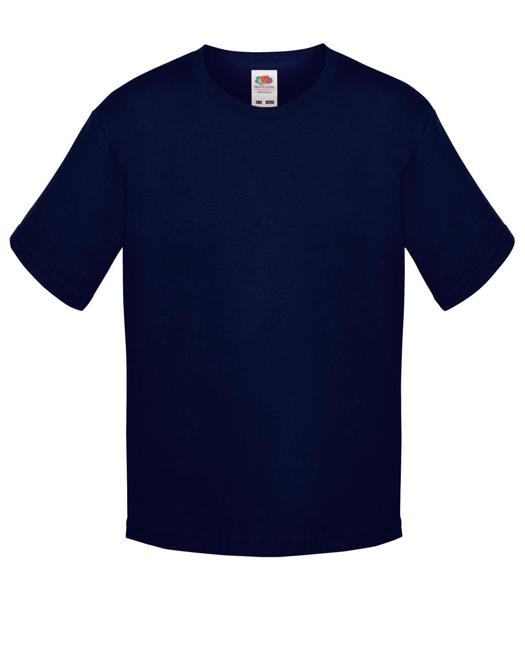 Детская футболка Мягкая для Мальчиков Глубоко тёмно-синяя Fruit of the loom 61-015-AZ 9-11