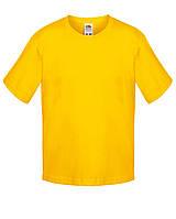 Детская футболка Мягкая для Мальчиков Солнечно-жёлтая Fruit of the loom 61-015-34 12-13, фото 1