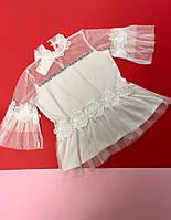 Блуза нарядная из фатина декорированная  цветами из ткани для девочки оптом