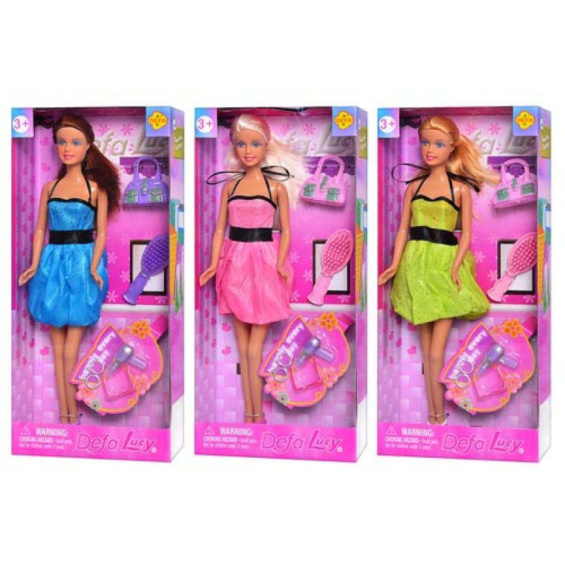 Лялька DEFA 8185 3 види, аксесуари, в коробці, 30,5-14-5 см.