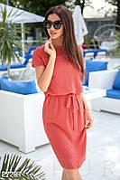 Красивое платье на лето полуоблегающее на поясе короткий рукав коралловый