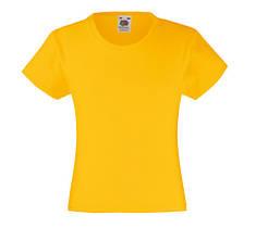 Детская Классическая футболка на Девочек Солнечно-жёлтая  Fruit of the loom 61-005-34 3-4
