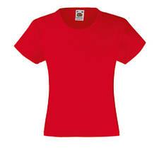 Детская Классическая футболка для Девочек Красная Fruit of the loom 61-005-40 3-4