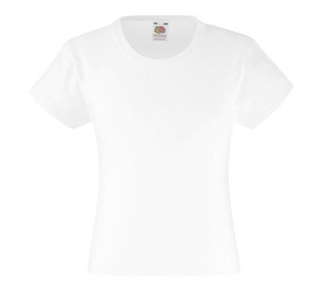 Детская Классическая футболка для девочек Белая Fruit of the loom 61-005-30 3-4