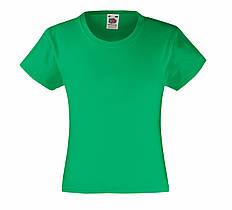 Детская Классическая футболка для Девочек Ярко-зелёная Fruit of the loom 61-005-47 3-4