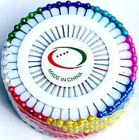 Игла с шариком, булавка швейная. Цветное ассорти. 3 набора в 1 коробке.