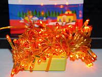 Новогодняя желтая гирлянда на 200 led-лампочек, 6 метров в длину, выбор режимов, контроллер, питание от сети