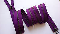 Молния металлическая, разъемная 100 см, 2 бегунка, тип 3. Цвет основы фиолетовый, зубчики - черненый металл.