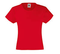 Детская Классическая футболка для Девочек Красная Fruit of the loom 61-005-40 7-8