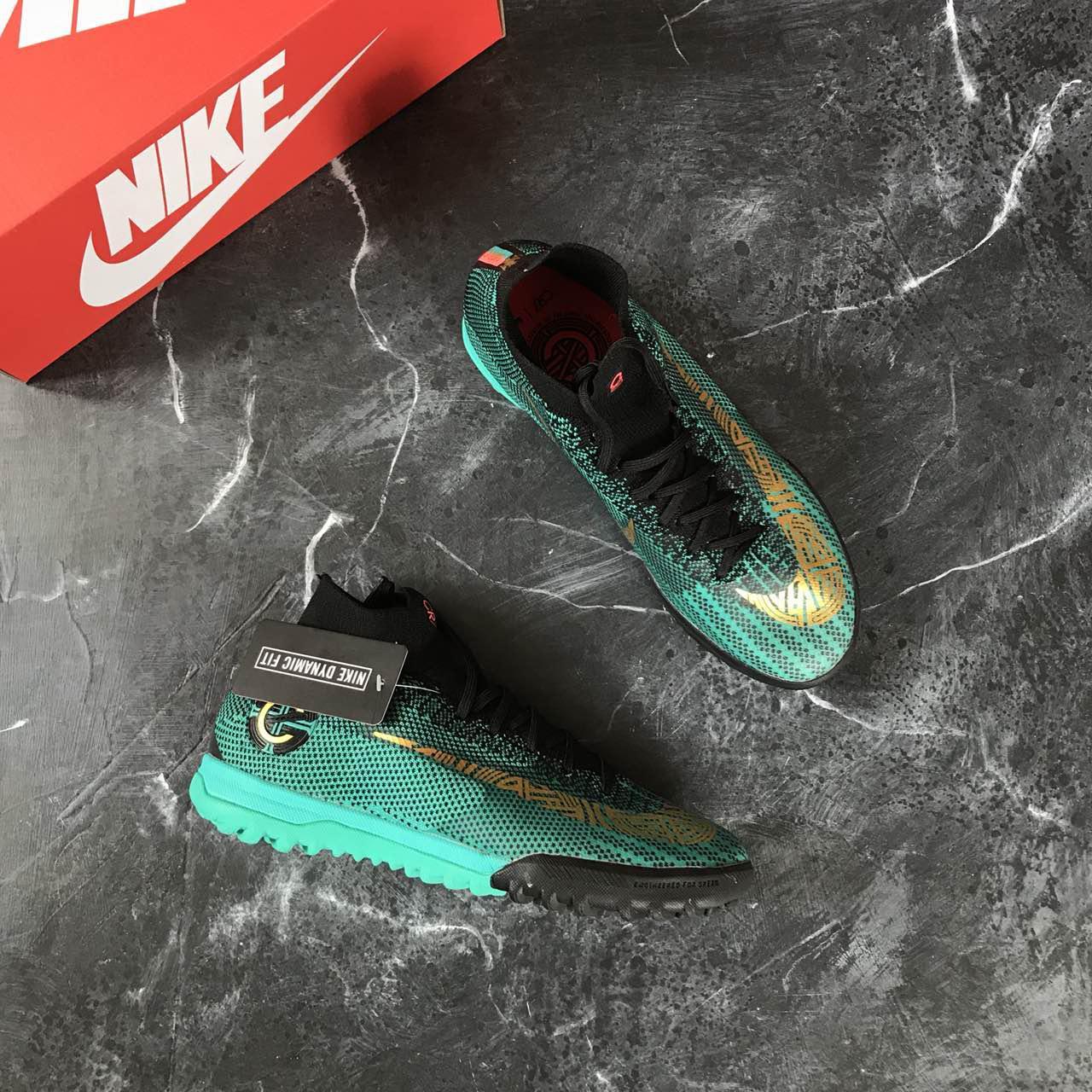 21635076 Детские Сороконожки Nike Mercurial SuperflyX KIDS VI Academy Ronaldo TF  -Clear Jade/Metallic Vivid Gold/Black