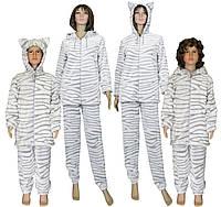 Комплект пижам махровых с ушками Family Look Animal Шиншилла 9c391498b973c