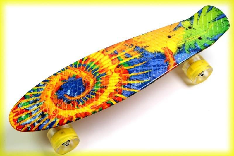 Скейт пенни борд Penny board22 Original с рисунком Sunflowers на светящихся колесах детский