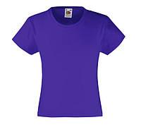 Детская Классическая футболка для девочек Фиолетовая Fruit of the loom 61-005-PE 9-11, фото 1