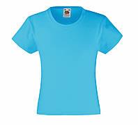 Детская Классическая футболка для девочек Ультрамариновая Fruit of the loom 61-005-ZU 9-11