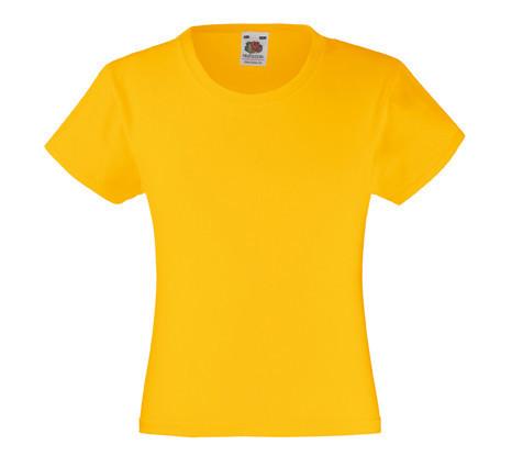 Детская Классическая футболка на Девочек Солнечно-жёлтая Fruit of the loom 61-005-34 12-13
