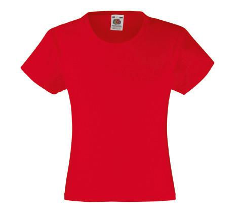 Детская Классическая футболка для Девочек Красная Fruit of the loom 61-005-40 12-13