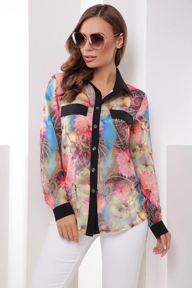 9b7e1412d3a Нарядная Шифоновая Женская Блузка-рубашка с Цветочным Узором Астры ...