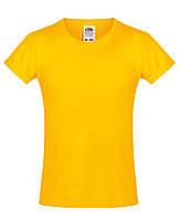 Детская футболка Мягкая для Девочек Солнечно-жёлтая Fruit of the loom 61-017-34 3-4, фото 1
