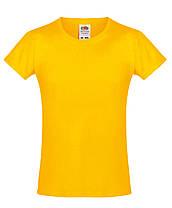 Детская футболка Мягкая для Девочек Солнечно-жёлтая Fruit of the loom 61-017-34 3-4