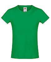 Детская футболка Мягкая для Девочек Ярко-зелёная Fruit of the loom 61-017-47 3-4, фото 1