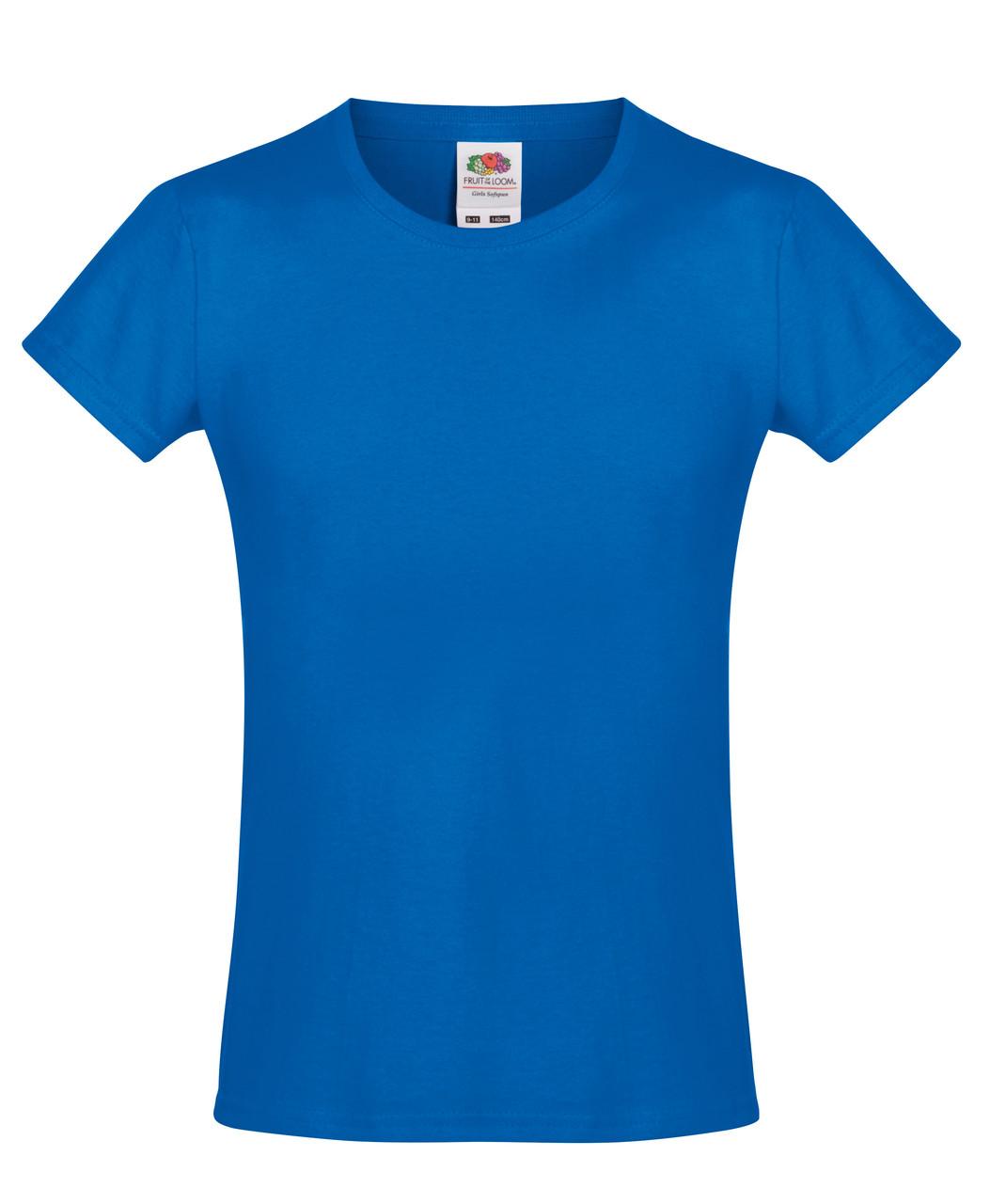 Детская футболка Мягкая для Девочек Ярко-синяя Fruit of the loom 61-017-51 5-6