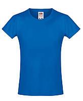 Детская футболка Мягкая для Девочек Ярко-синяя Fruit of the loom 61-017-51 5-6, фото 1