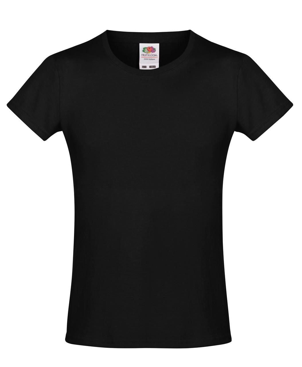 Детская футболка Мягкая для Девочек Чёрная Fruit of the loom 61-017-36 7-8