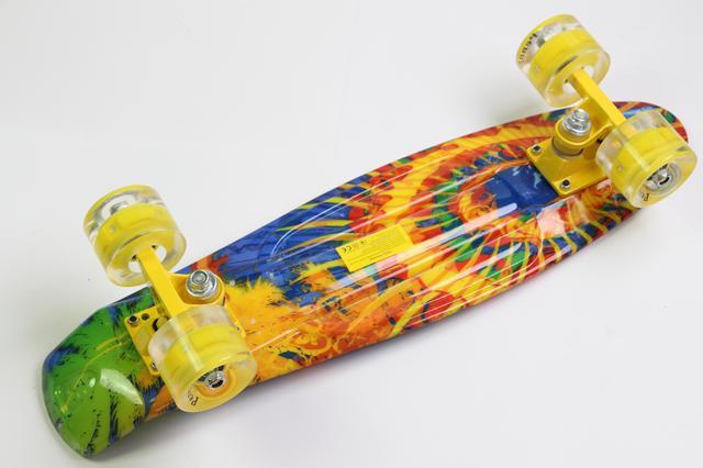 """Скейт пенни борд Penny board22 Original с рисунком """"Sunflowers""""  на светящихся колесах детский"""