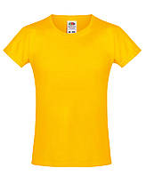 Детская футболка Мягкая для Девочек Солнечно-жёлтая Fruit of the loom 61-017-34 9-11, фото 1