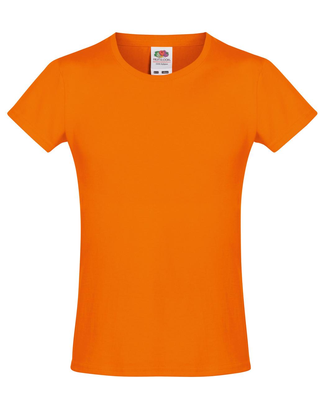 Детская футболка Мягкая для Девочек Оранжевая Fruit of the loom 61-017-44 9-11