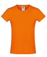 Детская футболка Мягкая для Девочек Оранжевая Fruit of the loom 61-017-44 9-11, фото 1