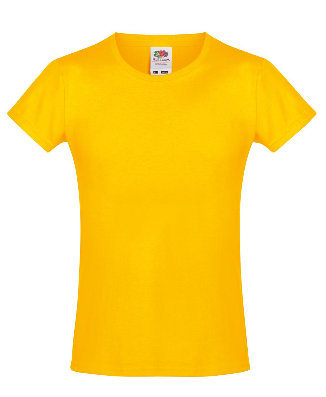 Детская футболка Мягкая для Девочек Солнечно-жёлтая Fruit of the loom 61-017-34 12-13