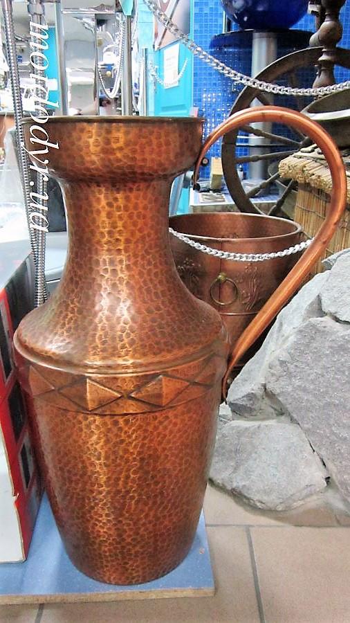 Напольная медная ваза декоративная, антиквариат