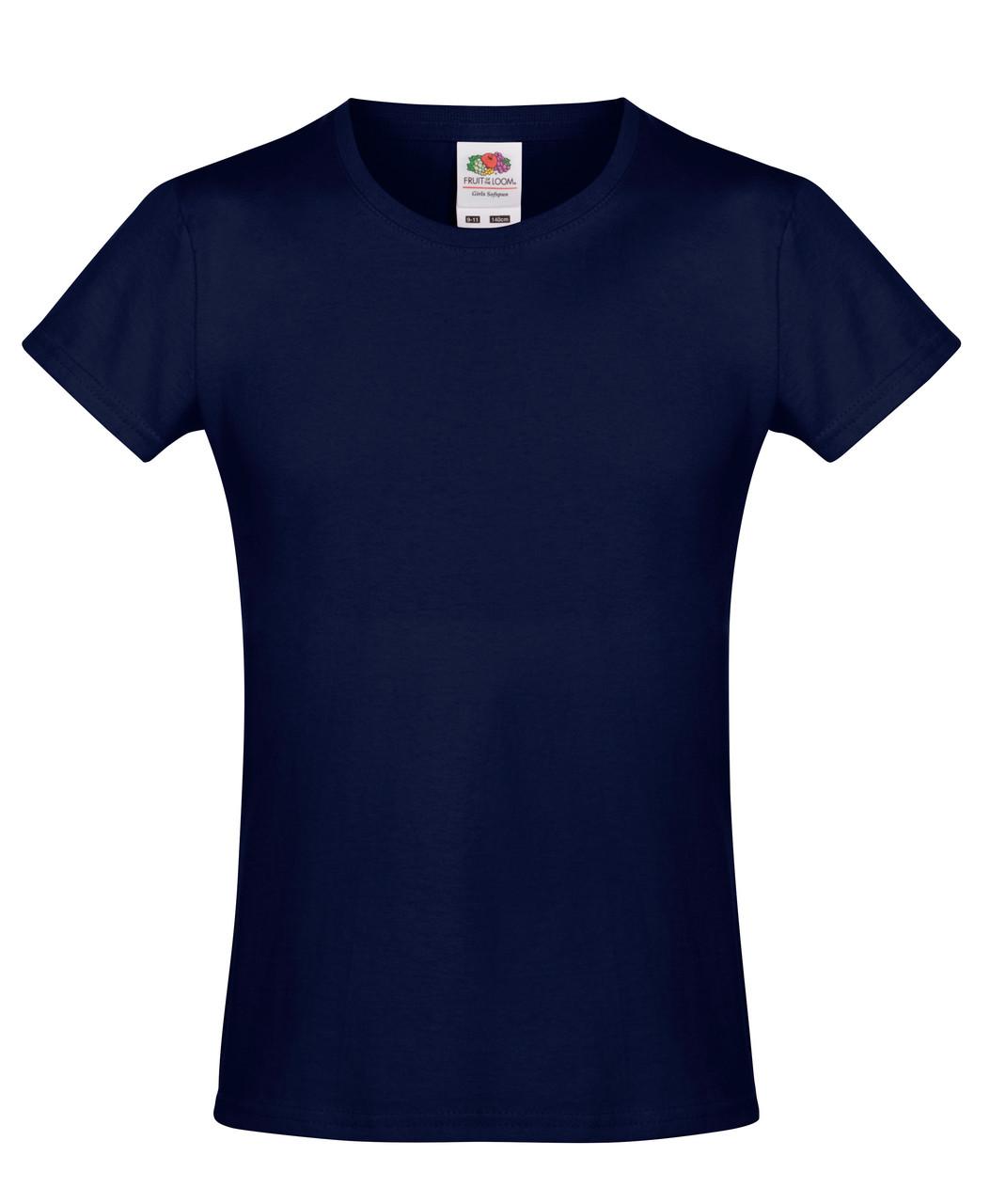 Детская футболка Мягкая для Девочек Глубоко тёмно-синяя Fruit of the loom 61-017-Az 12-13