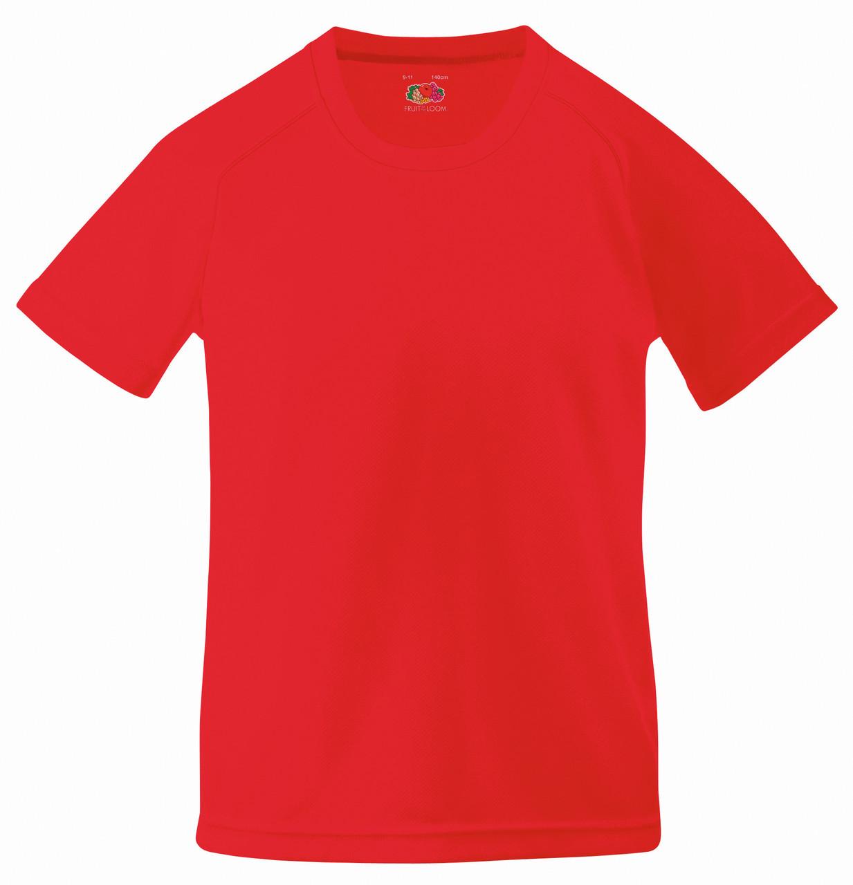 Детская Спортивная Футболка Красная Fruit of the loom 61-013-40 7-8