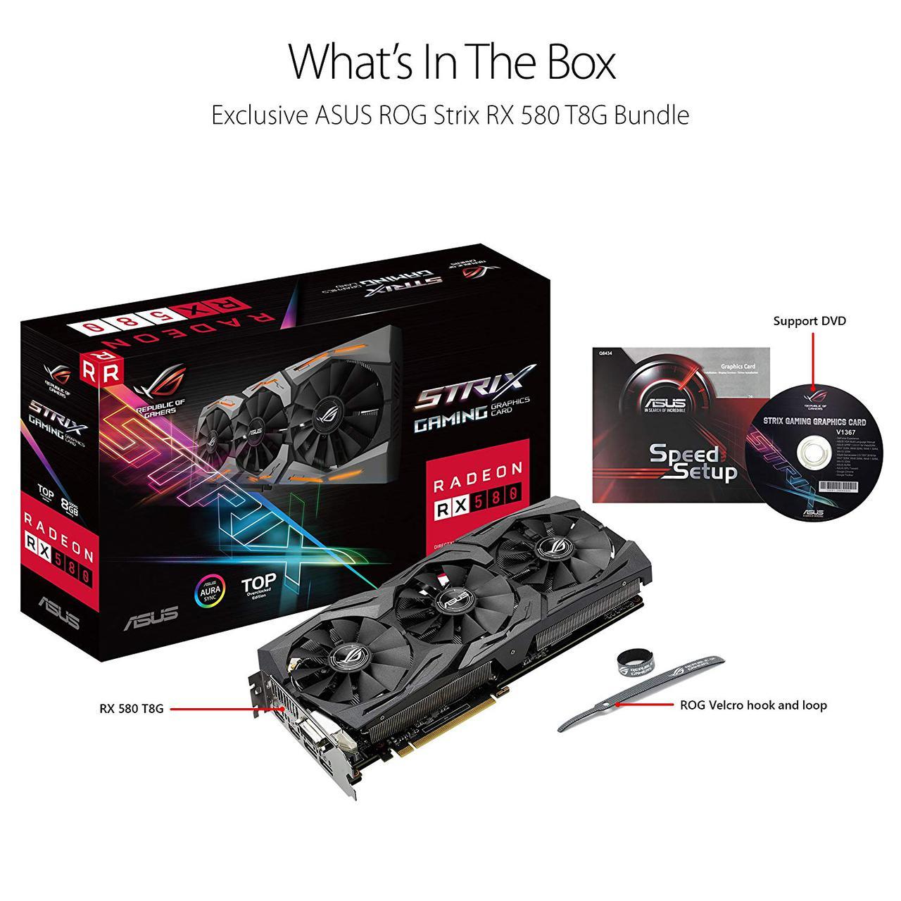 "Видеокарта Asus ROG Strix RX580 T8G Gaming 256bit 8Gb  ""Over-Stock"""