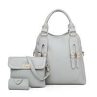 Набор женских сумок 3в1 серый из качественной экокожи с декоративными ремешками, фото 1