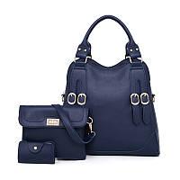 Набор женских сумок 3в1 синий из качественной экокожи с декоративными ремешками опт, фото 1