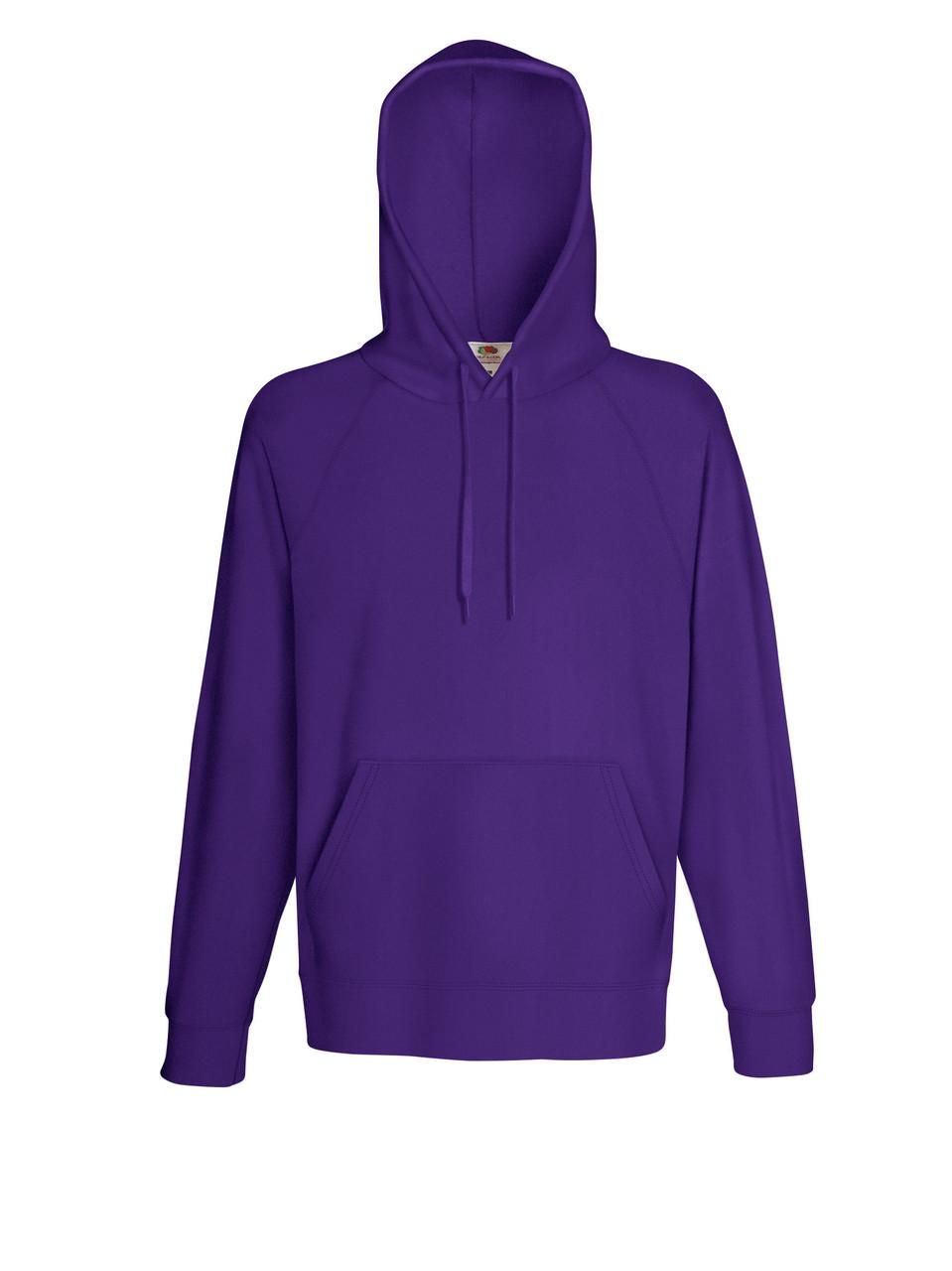 Мужская лёгкая толстовка с капюшоном Фиолетовая Fruit Of The Loom 62-140-PE XL