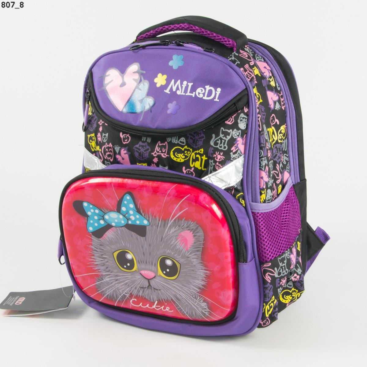 Оптом качественный школьный рюкзак для девочек с котиком - фиолетовый - 807