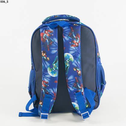 Оптом школьный/прогулочный рюкзак для мальчиков с супергероями - синий - 17-006, фото 3