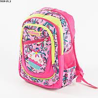 Оптом школьный/прогулочный рюкзак для девочек с бабочками - розовый - 5028-15, фото 1