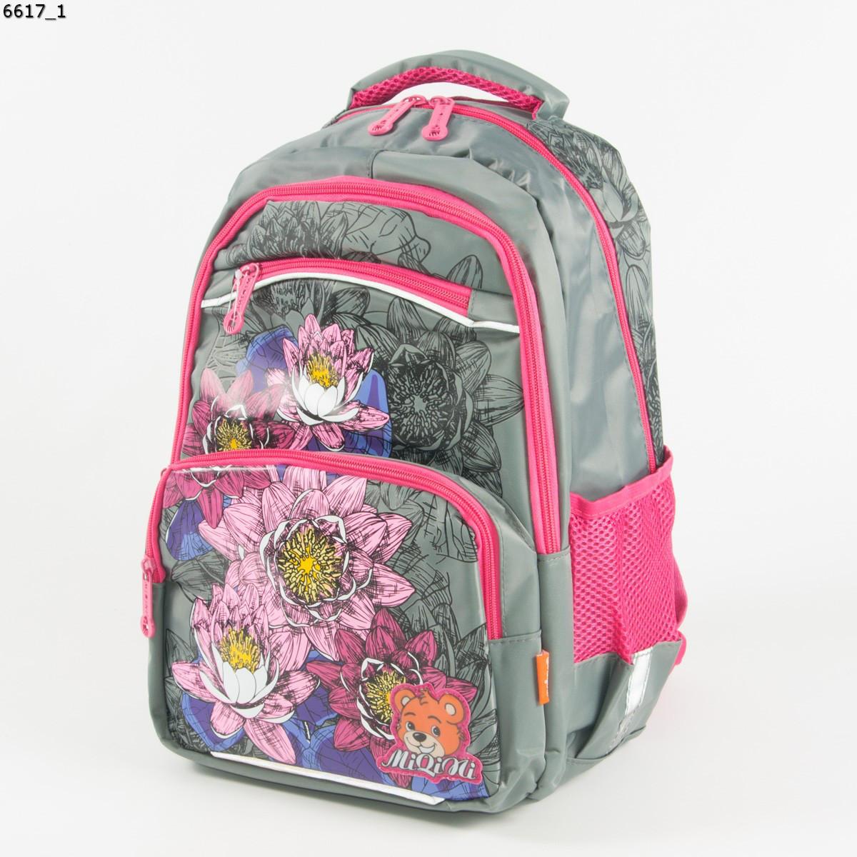Оптом качественный школьный рюкзак для девочек с цветами - серый - 6617