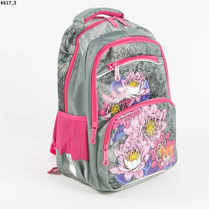 Оптом качественный школьный рюкзак для девочек с цветами - серый - 6617, фото 3