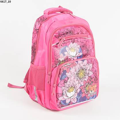 Оптом качественный школьный рюкзак для девочек с цветами - розовый - 6617, фото 3