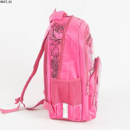 Оптом качественный школьный рюкзак для девочек с цветами - розовый - 6617, фото 2
