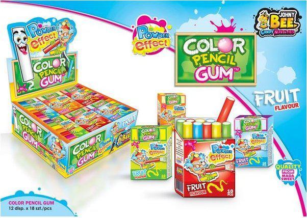 Жевательная резинка JOHNY BEE® Color Pencil Gum + Powder Effect
