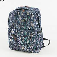 Оптом джинсовый прогулочный рюкзак с буквами - синий - 011, фото 1