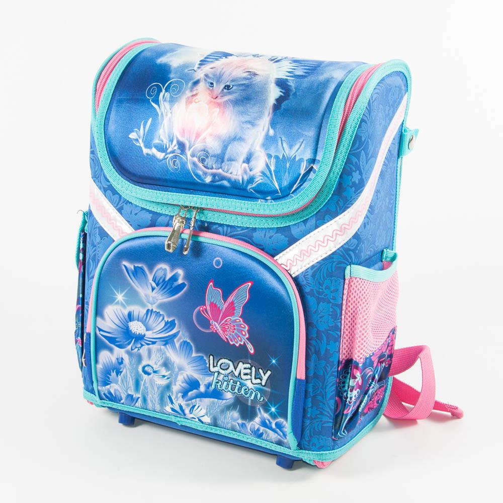 Оптом школьный рюкзак для девочек с котиком - голубой - 18001